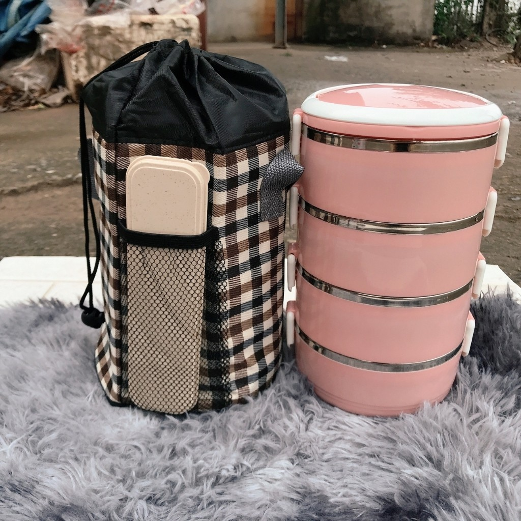 Túi đựng cơm giữ nhiệt hình trụ tròn 2 lớp cách nhiệt