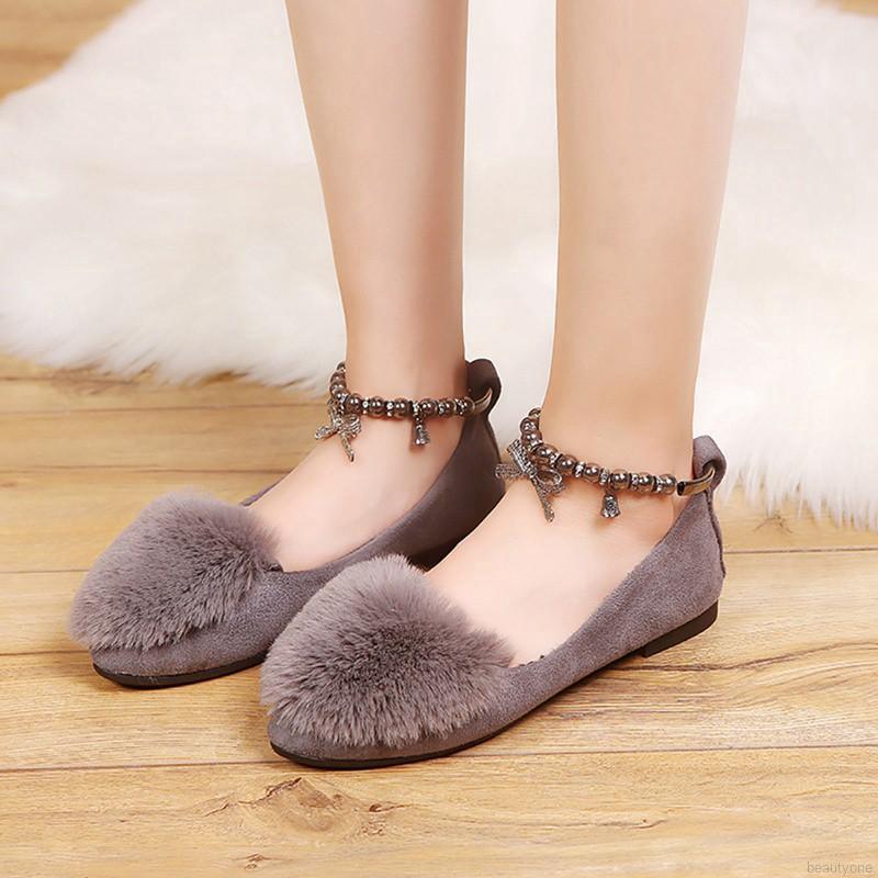 Giày Bệt Mũi Tròn Trang Trí Lông Mềm Thanh Lịch