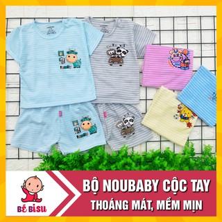 Bộ quần áo Noubaby cộc tay (cài vai) kẻ ngang thoáng mát, cho bé( 4-15kg) thumbnail