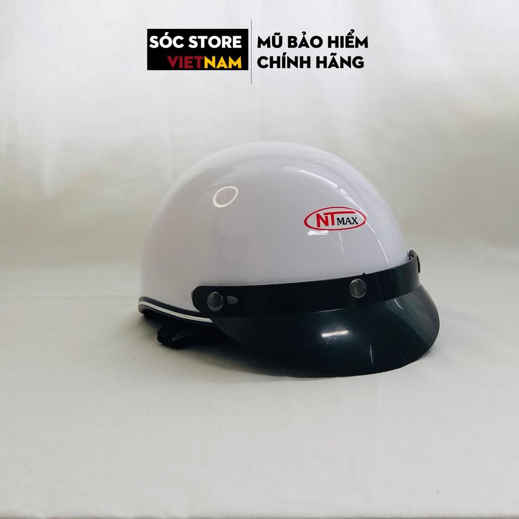 Mũ bảo hiểm nửa đầu chính hãng Sóc Store Vietnam màu trắng kèm kính UV, kính phi công, nón bảo hiểm 1 phần 2 freesize