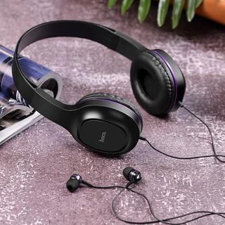 [Mã ELFLASH5 giảm 20K đơn 50K] Tai nghe chụp tai có dây Hoco W24 - Tặng kèm tai nghe nhét tai hàng chính hãng Hoco