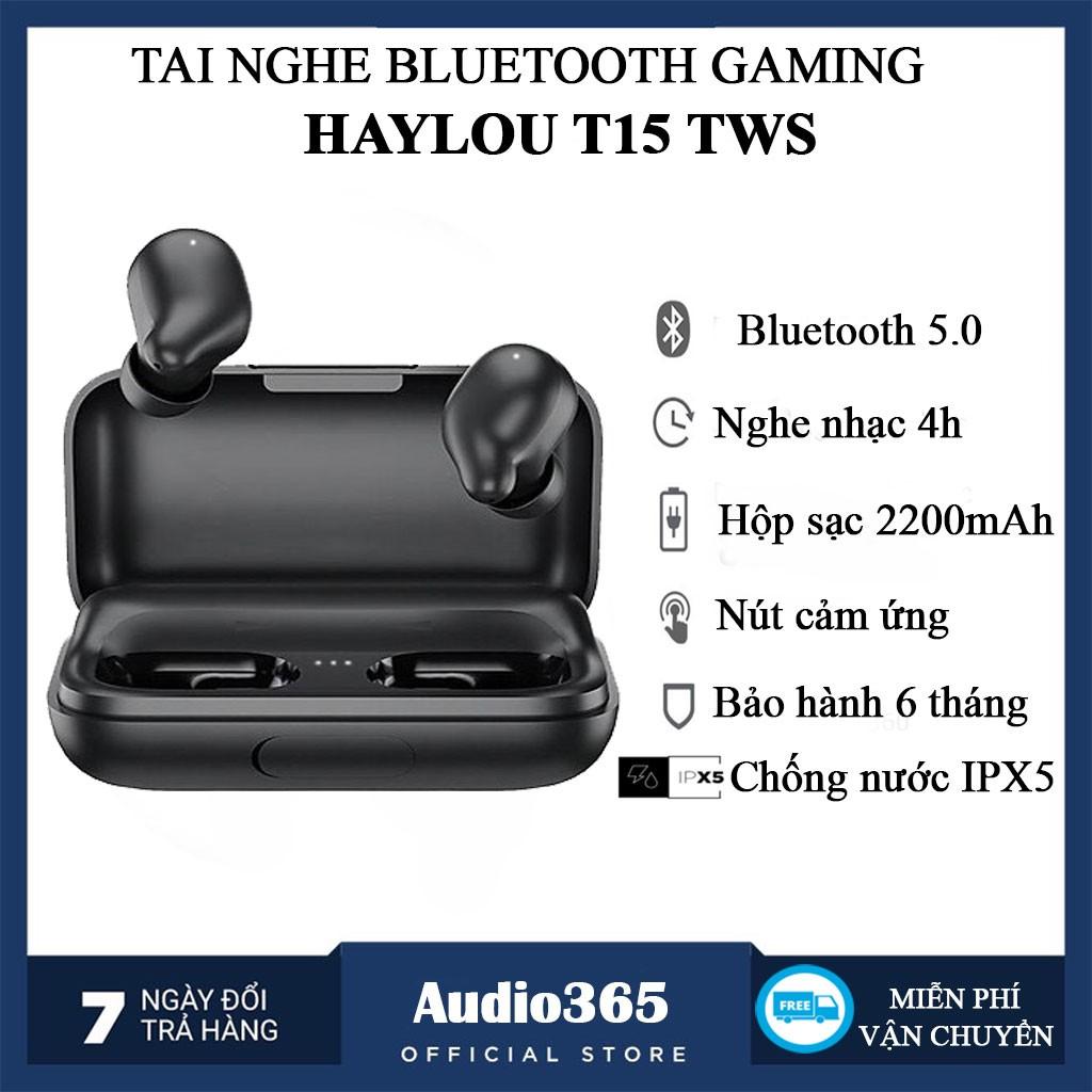 [Mã 267ELSALE hoàn 7% đơn 300K] Tai Nghe Gaming True Wireless HAYLOU T15 Tích Hợp Sạc Dự Phòng 2200mAh Chống nước IPX5