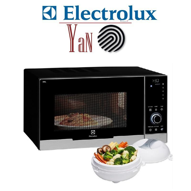 Lò vi sóng điện tử có nướng có nồi hấp rau củ đa chế độ 30L Electrolux EMS3085X 900-1050W màu đen - Hàng chính hãng