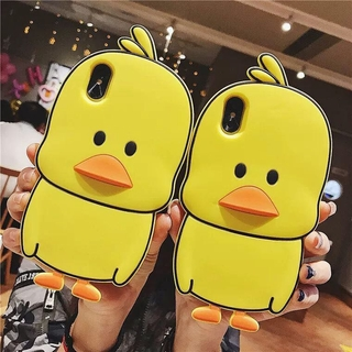 iPhone 4 4s 5 5s SE 6 6s 7 8 Plus SE 2020 X Xs Xs Max XR iPhone 11 Pro Max Cute Cartoon 3D Yellow Duck Silicone Rubber Casing Case