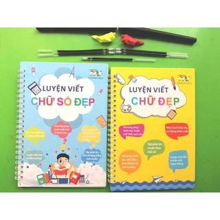 Bộ 2 vở luyện viết chữ đẹp tự xóa kèm 2 bút 6 ngòi 2 cá heo định hình