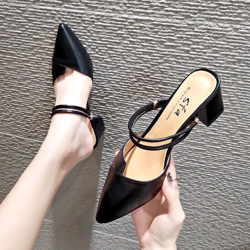 Giày cao gót 5cm vá mũi quai hậu mũi nhọn sang trọng