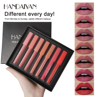 HANDAIYAN 7PCS/Set Matte Vlevet Lip Gloss Matte Liquid Lipstick Long-Lasting Women Red Nude Lip Tint Cosmetics Set