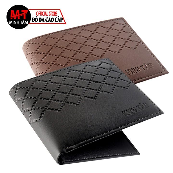 Ví nam Minh Tâm da PVC cao cấp , thời trang nam Minh Tâm MT417 , đen hoặc nâu