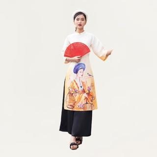 Áo dài gấm truyền thống 92WEAR đủ màu, đủ size, thanh lịch TTC0034 thumbnail