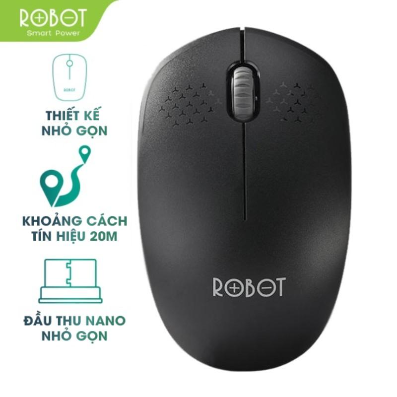 Chuột Quang Không Dây Wireless 2.4GHz ROBOT M210 Khoảng Cách Tín Hiệu 20m - Tặng Kèm Pin - BẢO HÀNH 1 ĐỔI 1