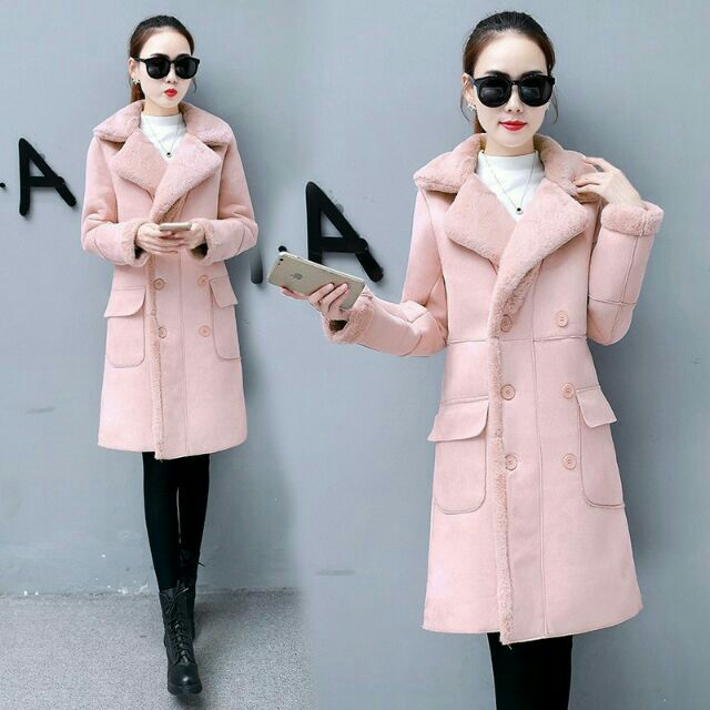 Áo khoác nữ chất da lộn lông cừu dày dặn, mềm mịn cực ấm cho mùa đông