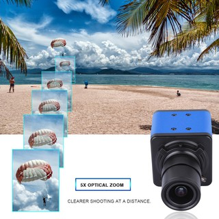 Aibecy 1080P HD Camera Computer Camera Webcam 2 Megapixels 5X Optical Zoom 155 Degree Wide Viewing Manual Focus Auto Exposure Compensation with Microphone Holder USB Plug & Play for Video Conference Online Teaching Chatting Live Webcasting