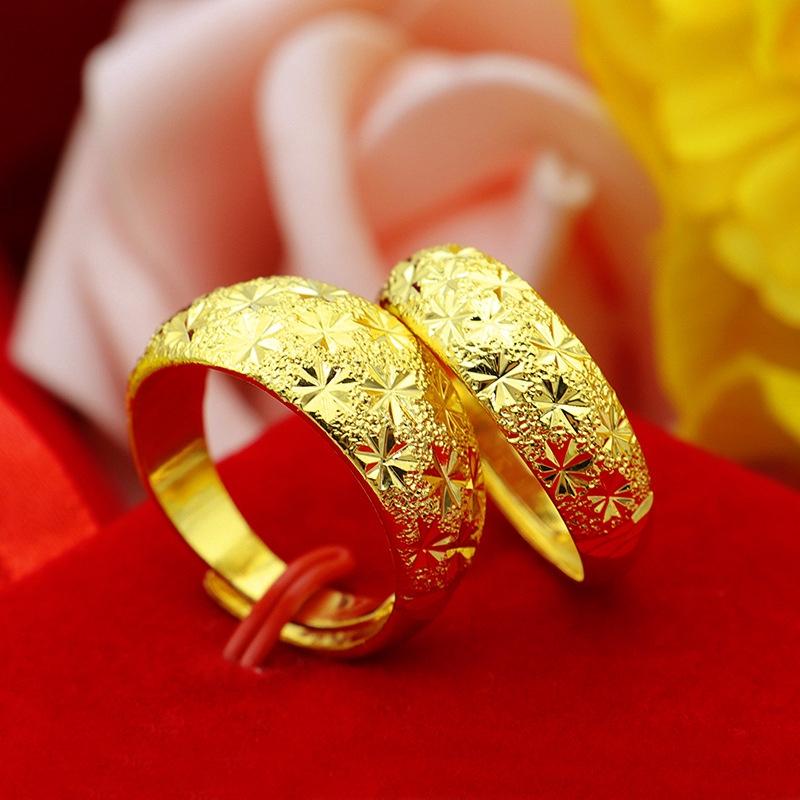 เวียดนามแหวนทองเพศชายและเพศหญิงชุบ 24 k 3 d ดาวทองฮาร์ด
