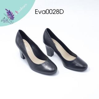Giày Cao Gót Mũi Tròn Da Bò Tự Nhiên 7cm Evashoes - Eva0028D thumbnail