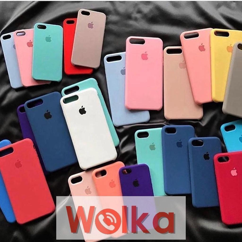 Ốp điện thoại silicone màu trơn in hình logo Apple dành cho iPhone 6 6s 7 8plus iPhone Xs max iPhone X XS XR