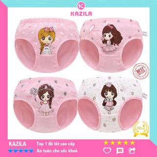 Quần chip bé gái cotton tinh khiết hạng A, quần lót bé gái hình 4 cô gái Kazila QLG10