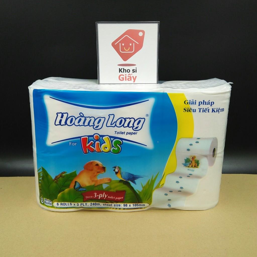 [Siêu Rẻ] Lốc 6 cuộn giấy vệ sinh lụa không lõi Hoàng Long Kids