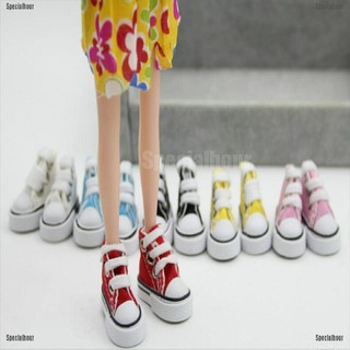 Specialhour Fashion 1 Pair 1/6 Cute Lace Up Canvas Shoes Fits 12 Inch Barbie Doll Shoes