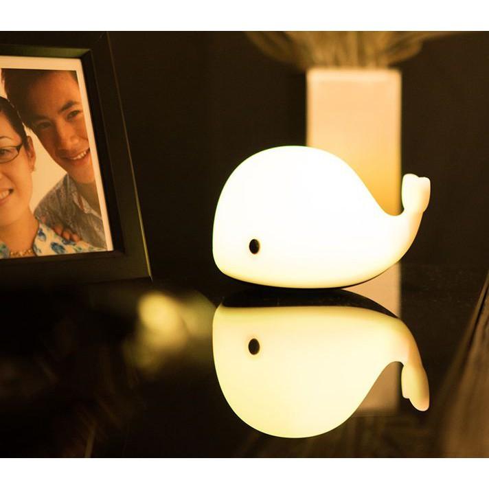Đèn ngủ để bàn, đèn ngủ LED silicon cảm ứng hình cá heo đáng yêu Jisulife L2, 6 màu LED, cảm ứng chạm thông minh -800mAh