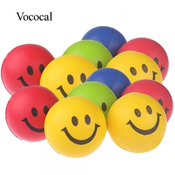 Vococal 12 Pcs Kids Adults PU Sponge Smile Face Soft Squeeze Anti Stress Relief Round Ball Toy Random Color