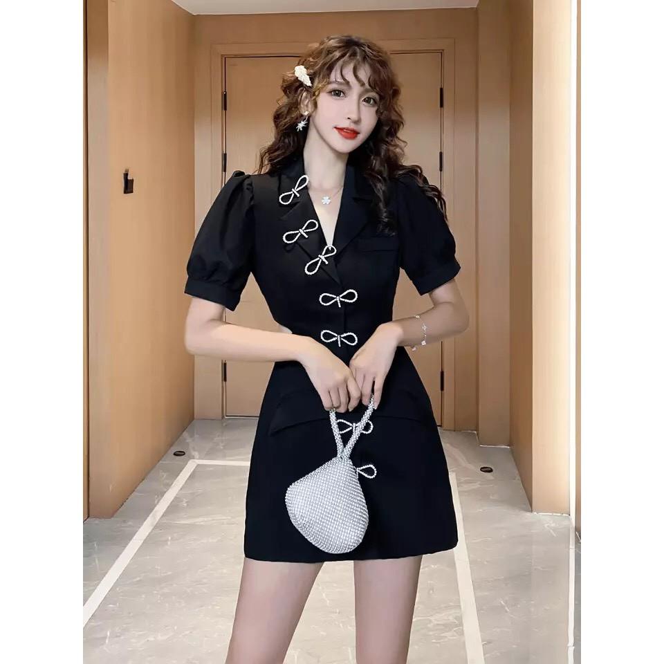 Đầm cổ vest khoét eo đi dự tiệc, dạo phố đi chơi cà phê, quẩy bar quá sang chảnh luôn - hàng cao cấp VADA - Đ0010