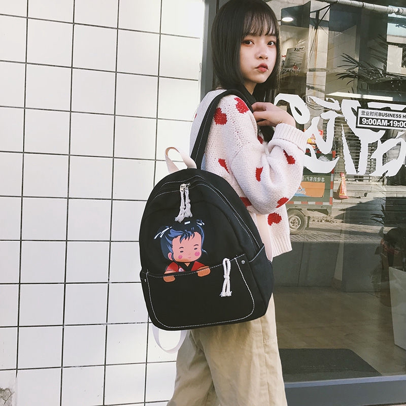 ☍♞Wear-resistant canvas-INS Super Fire schoolbag schoolgirl Korean edition simple Hundred school students canvas backpa