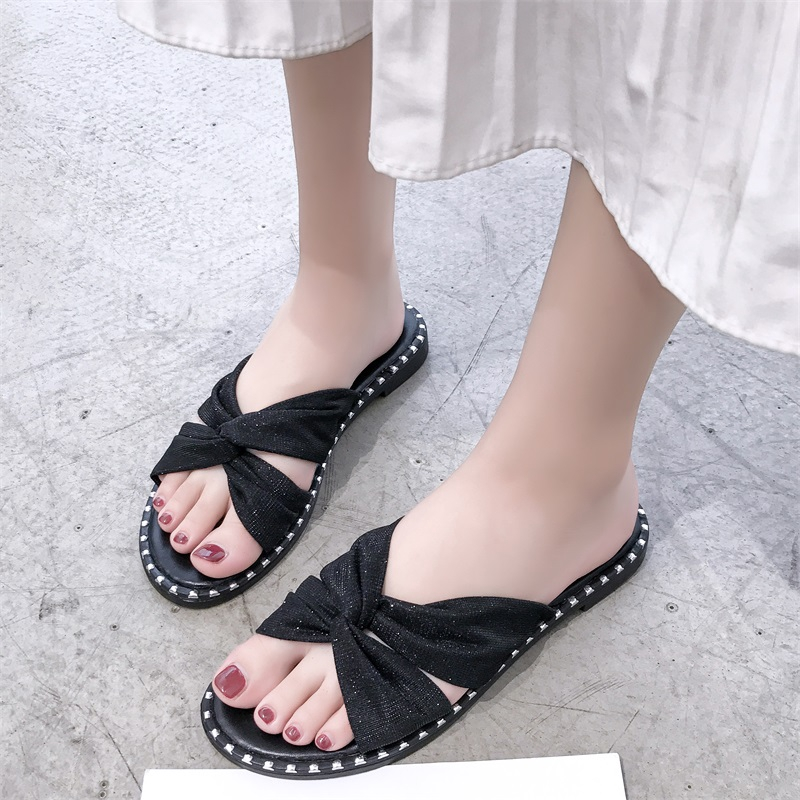 ™Slipper female outside wearing fashion hundred net red summer women's shoes flat-bottomed students a word drag girl he