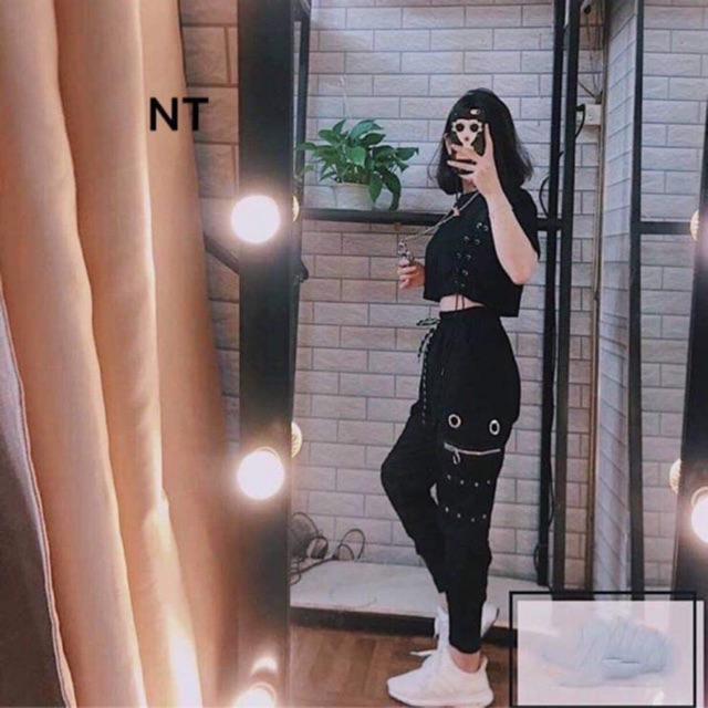 Sét áo croptop ozê+quần túi khoá