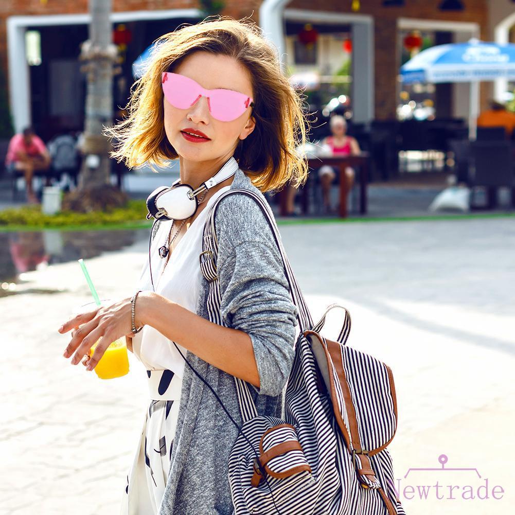 △ Autumn BAG Cat Eye One-Piece Lens Women Clear Goggle Resin PC Len Sun Glasses UV400