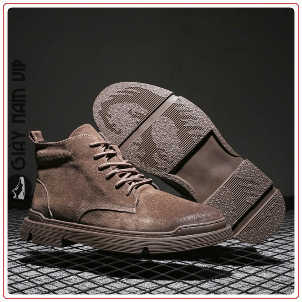 Giày Boot Nam Da Lộn - FREESHIP - Giày Da Nam Cá Tính Phá Cách GNK18