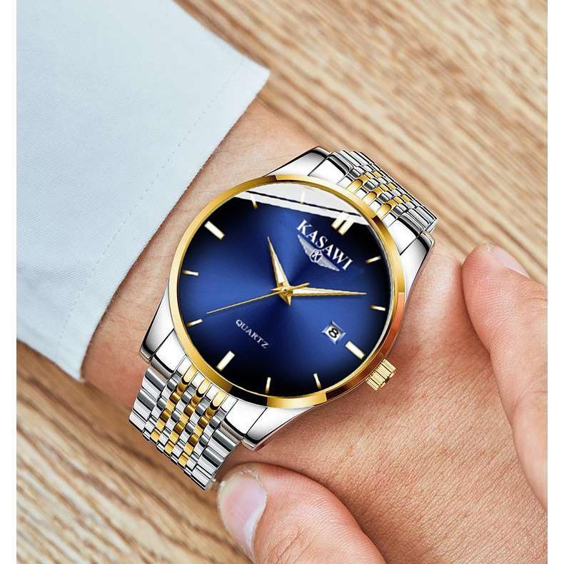 ĐỒng hồ nam KASAWI K20K ⚜️FREESHIP⚜️ đồng hồ có lịch ngày-chống nước và chống xước sinh hoạt tốt, dây hợp kim thép (hộp)