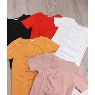 Áo dúm vạt lệch mẫu mới, áo thun vạt lệch xẻ tà dúm eo diêu cá tính cho nữ, hàng mới về 2019