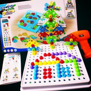 《SALE XÃ KHO》 Building block đồ chơi tua vít chạy bằng pin cho bé