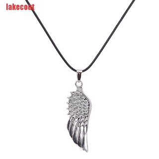 (LAT-COD)Men Choker Necklaces Stainless Steel Vintage Gothic Feather Angel Wing Pendants Necklace
