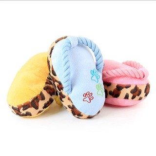 Hot Pet Chewing Plush Puppy Sound Slippers Shape Squeaker Toy