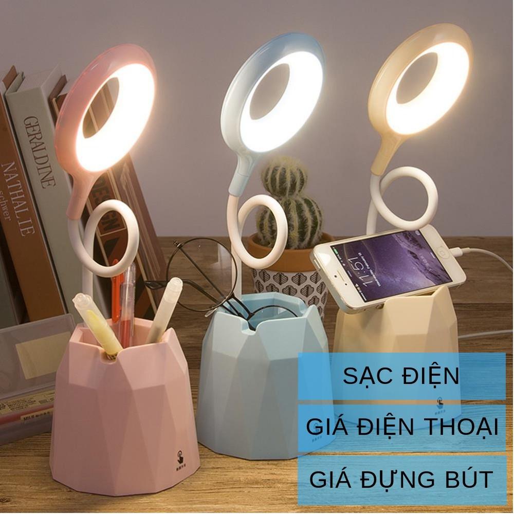 Đèn học để bàn sạc tích điện chống cận thị cho trẻ em đèn led cảm ứng có Giá điện thoại và cắm bút mã 36011