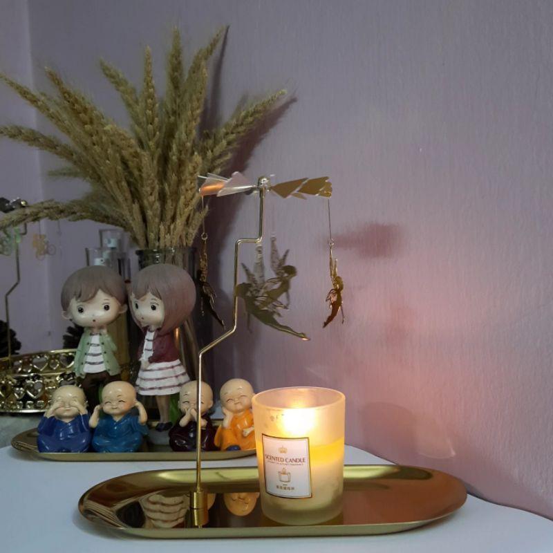 Khay nến chong chóng xoay trang trí kim loại gồm khay lớn, trụ và charm dùng với nến BBW YANKEE CN002