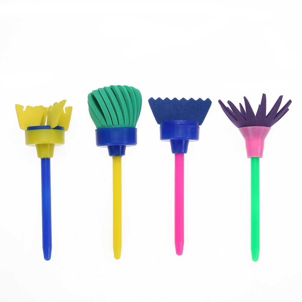 [High] 4pcs Plastic Rotate Spin Sponge Paint Drawing Brush Interactive Gift Toy /KT