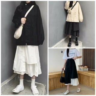 Chân váy dài qua gối, chân váy nữ 2 màu đen trắng Quảng Châu