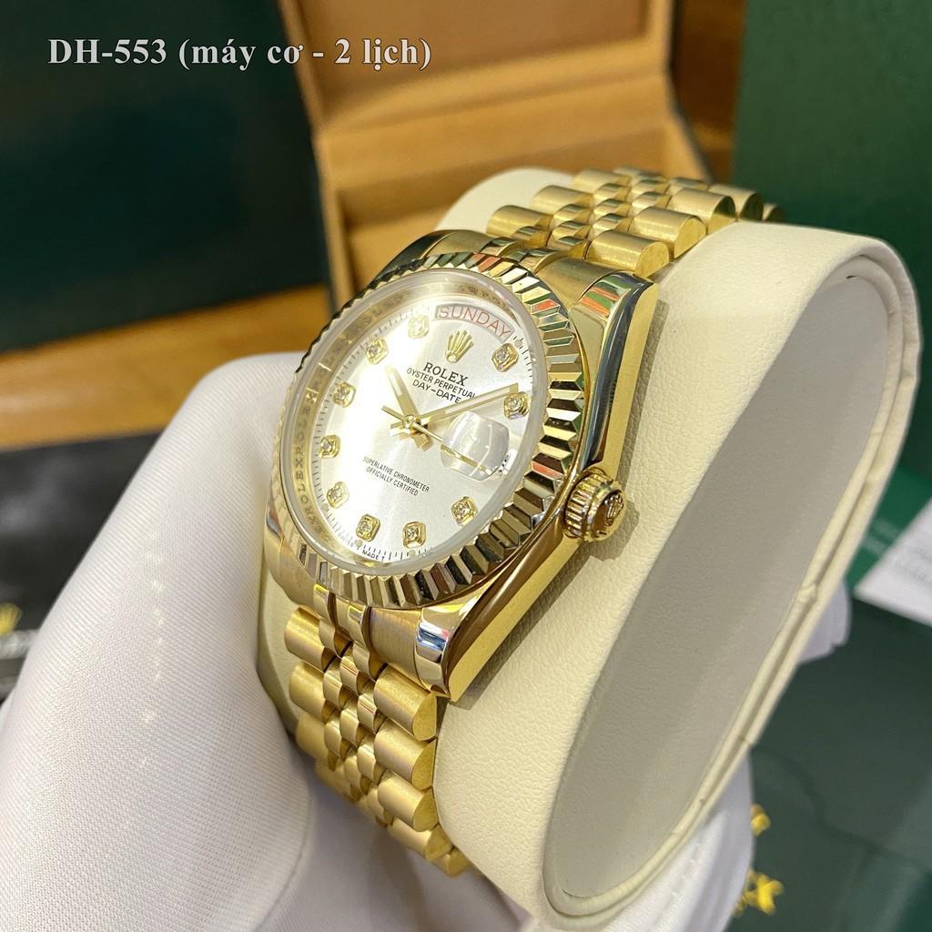 Đồng hồ nam ROLEX - MÁY CƠ - 2 lịch - viền băm đúc sang trọng đẳng cấp [bảo hành 24th] vipwatch