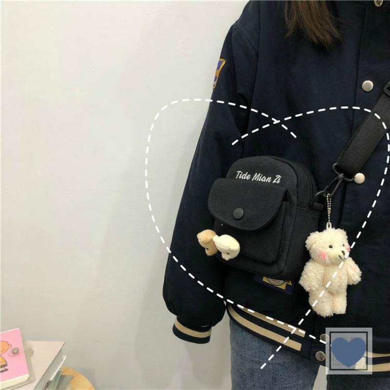 Túi vải canvas đeo chéo phong cách Hàn Quốc dành cho nữ