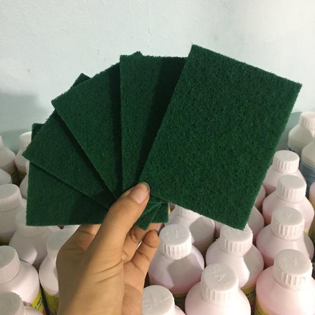 Combo 5 miếng cước chùi rửa xanh, cọ rửa xoong nồi, làm vệ sinh kích thước 11x8cm hàng loại tốt