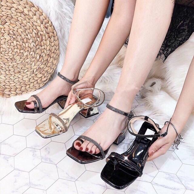 Sandal cao gót nữ xỏ ngón đính đá