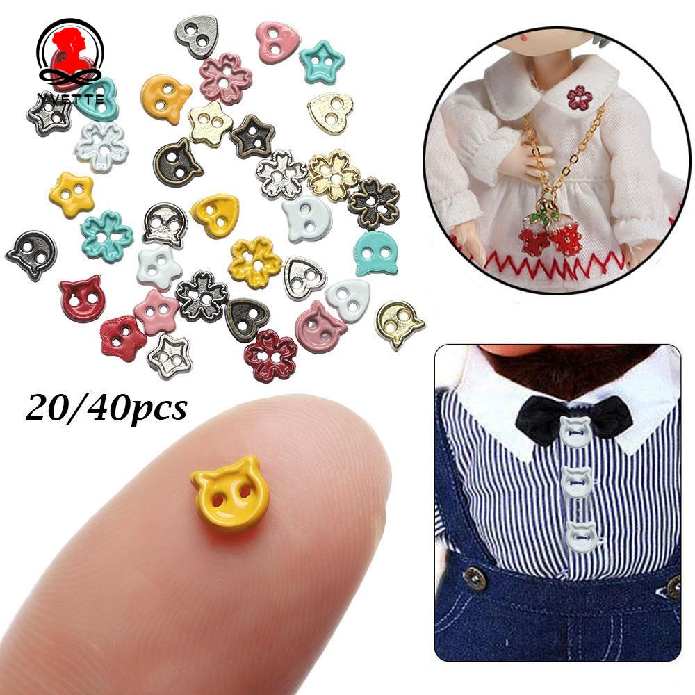 YVETTE 20/40pcs 9 Colors Mini Buttons Cartoon Style Dolls Clothing Accessories Doll Clothes Buckles 4mm DIY Sewing Material Stuffed Toys Handmade Metal Buckle/Multicolor