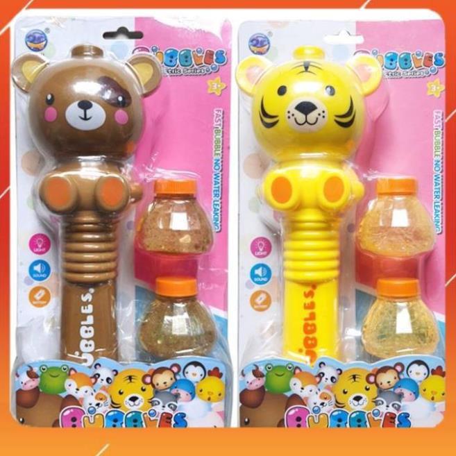 Đồ Chơi Cây Bắn Bong Bóng Hình Gấu Có Nhạc và Đèn Dùng Pin Cho Bé