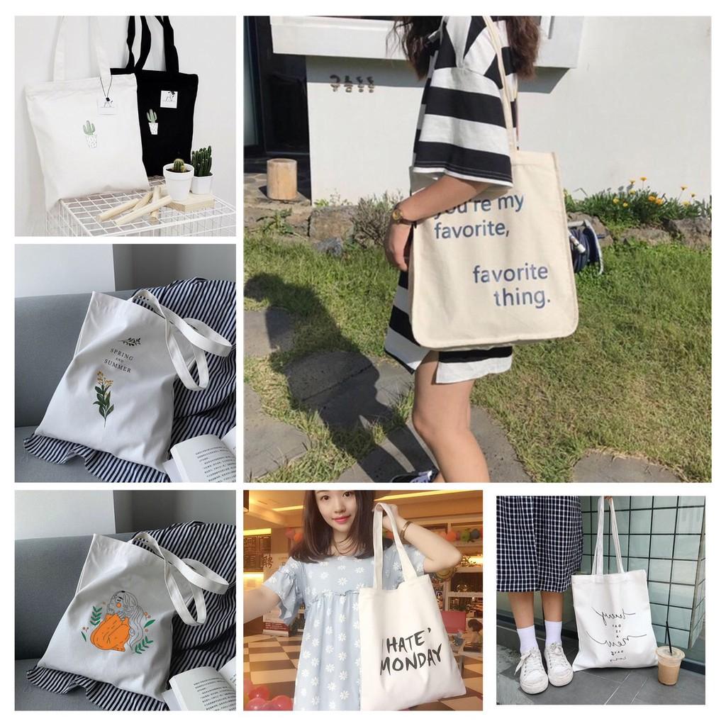 Túi tote nữ thời trang Hazin favorite thing vải thô canvas chất lượng cao,đi làm,đi học kiểu mới HZ 34
