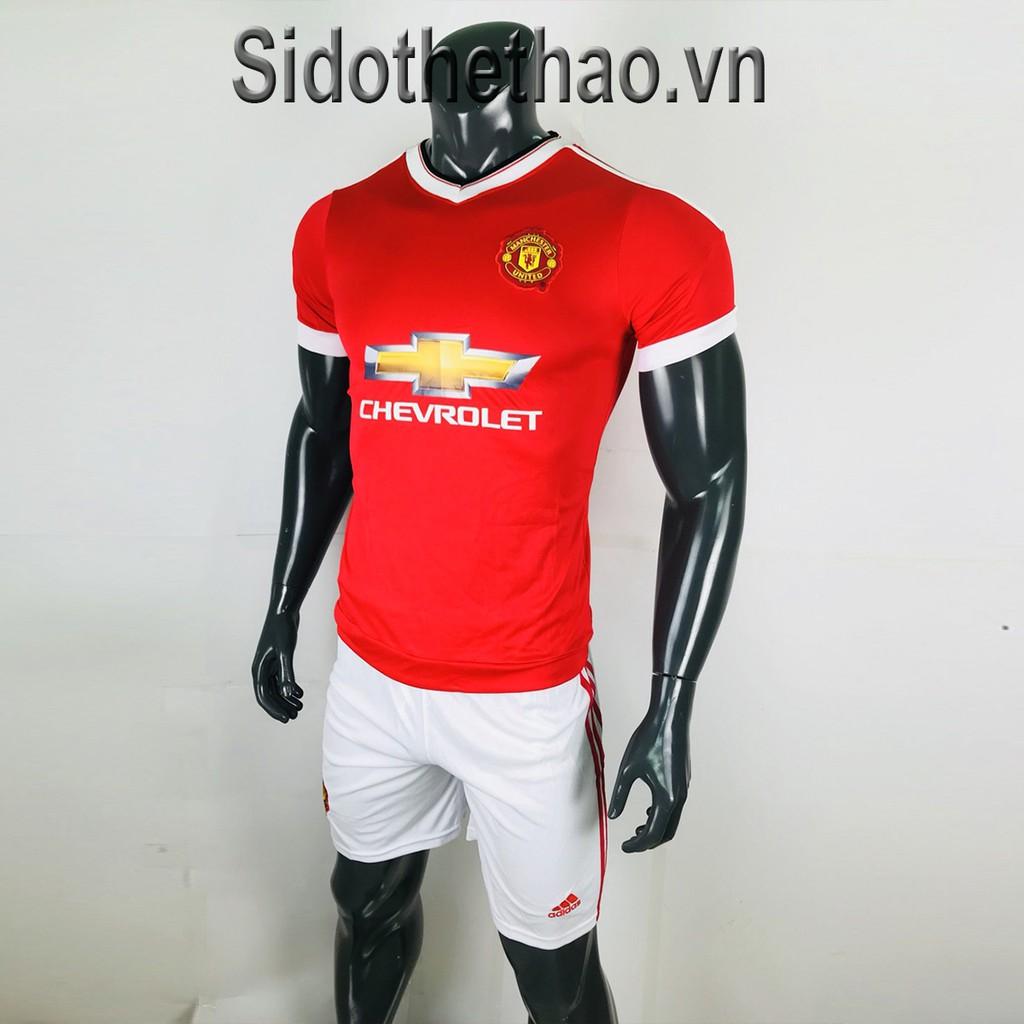 Bộ đồ đá banh Mu Manchester United màu đỏ quần trắng cổ tim