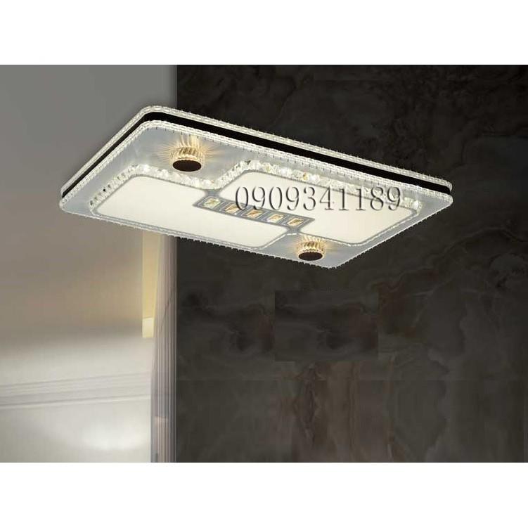 đèn mâm led gắn trần - đèn ốp trần led - Đèn mâm led pha lê 3 chế độ ánh sáng
