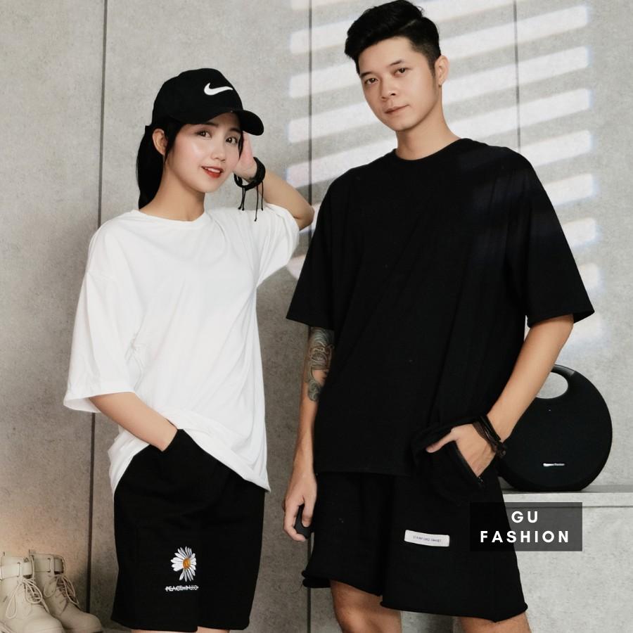 Áo Thun Trơn Nam Nữ Form Rộng Màu Đen Trắng Unisex Chất Mát Cao Cấp Không Xù Nhão Gu Fashion
