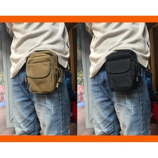 Túi đeo hông vải bố ( Màu be / đen)